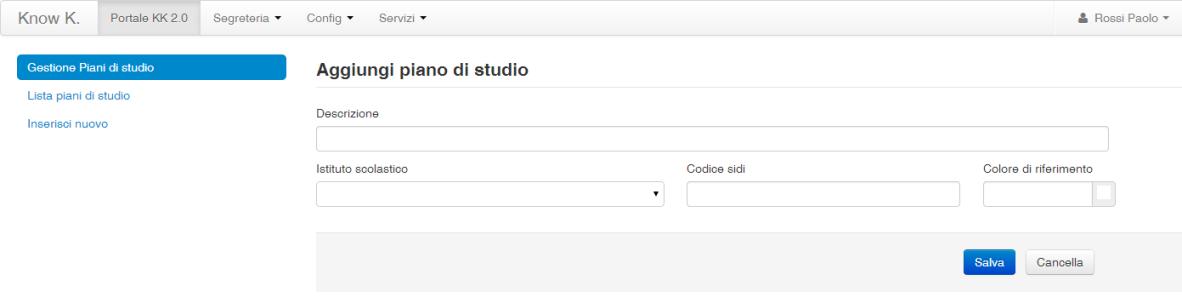 Segreteria portale kk 1 0 documentation for Piccoli piani di studio